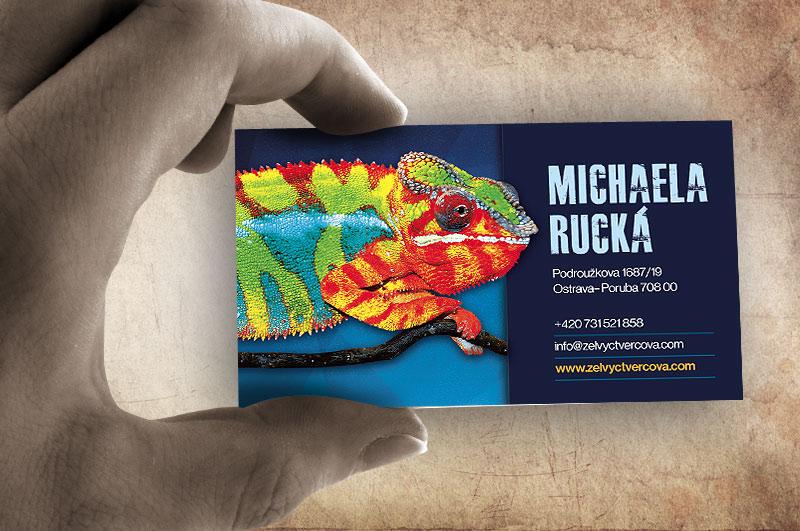 Grafický návrh a tisk vizitek pro chovatele chameleonů
